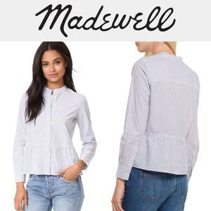 Madewell Lakeside Peplum White Striped Shirt